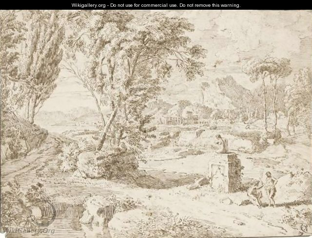 Italianate Landscape With Two Figures Resting By A Ruined Statue - Johannes (Polidoro) Glauber