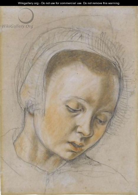 Head Of A Young Woman, Looking Down - (after) Pieter Aertsen