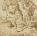 Three Men Bearing War Loot Up A Mountain Path - Francesco de' Rossi (see Salviati, Cecchino del)
