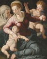 Madonna And Child With St. Anne And Infant St. John The Baptist - (after) Agnolo Di Cosimo