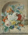 Still Life Of Flowers And Fruit In A Niche, With A Bird's Nest - Wybrand Hendriks