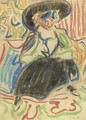 Seated Girl With A Hat - Ernst Ludwig Kirchner
