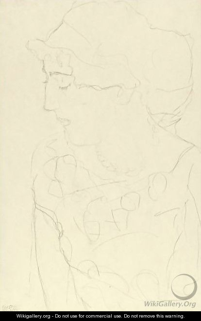 Female Bust In Profile Or Woman With Blouse - Gustav Klimt