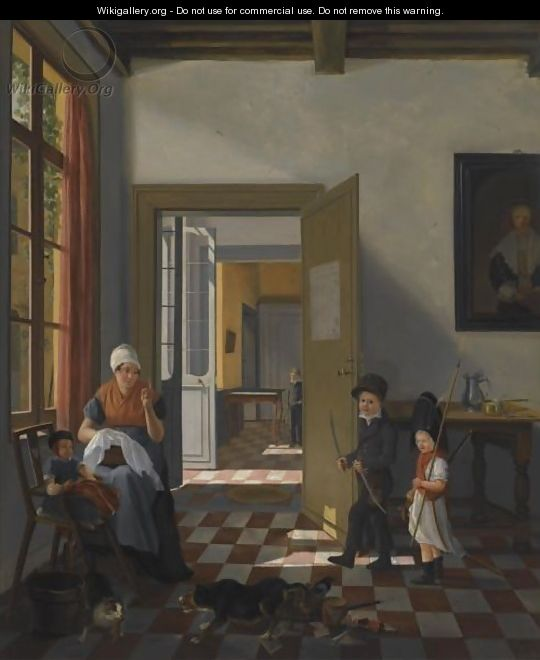 An Interior With A Woman Sewing, A Baby And Two Children Dressed Up As Soldiers - Abraham van, I Strij