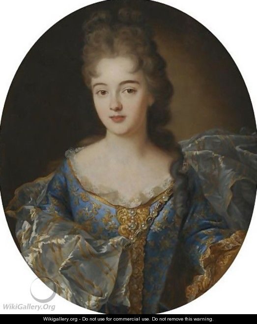 Portrait Of A Lady, Half Length, In A Blue Embroided Dress With An Ornate Scarf - (after) Nicolas De Largillierre