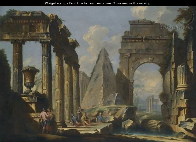 A Landscape With Classical Ruins And Figures Resting In The Foreground - (after) Giovanni Paolo Panini