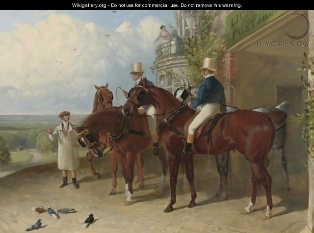A Change Of Horses Waiting For The Arrival Of A Coach Outside An Inn - John Frederick Herring Snr