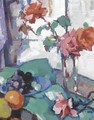Still Life Of Roses With A Green Tablecloth - Samuel John Peploe