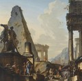 Capriccio Of Classical Ruins With Alexander The Great Opening The Tomb Of Achilles - Giovanni Niccolo Servandoni