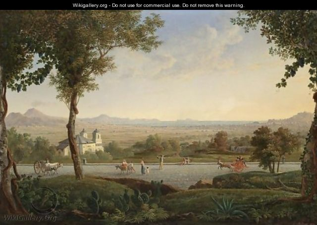 A View Of The Outskirts Of Naples, With Mount Vesuvius To The Left And The Island Of Capri In The Distance - Neapolitan School