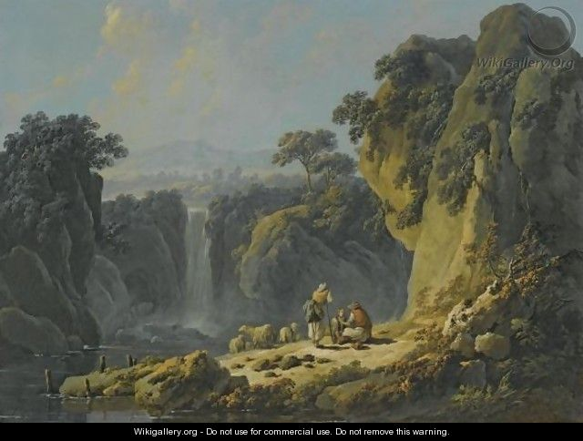 A Landscape With Peasants Resting Their Flock Beside A Waterfall - Jean-Baptiste Pillement