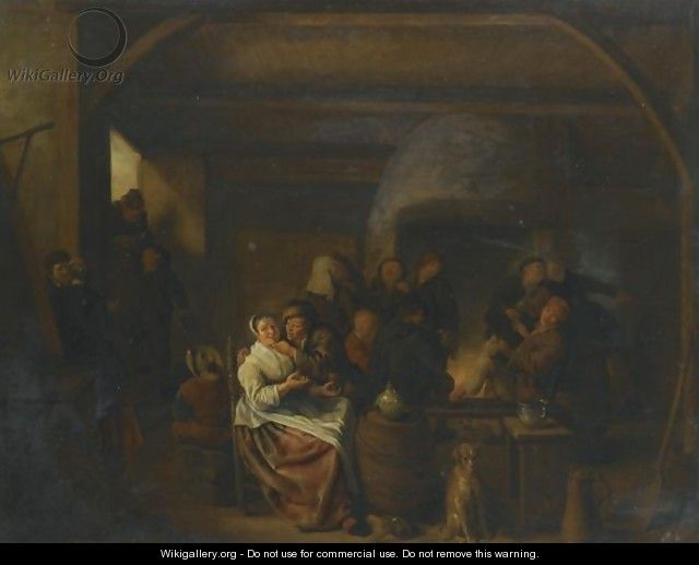 The Interior Of A Tavern With Peasants Cavorting And Drinking - Jan Miense Molenaer