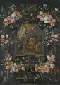 Garlands Of Flowers Surrounding A Stone Cartouche Inset With A Painting Depicting The Resurrection - Jan, the Younger Brueghel