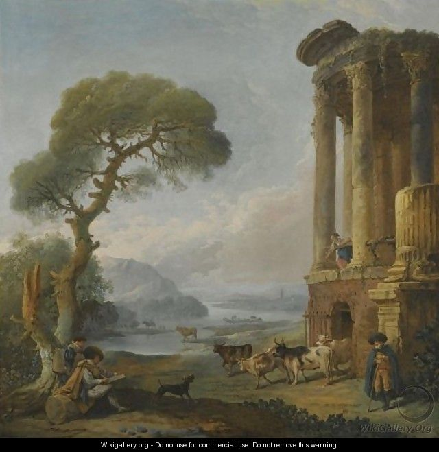 A River Landscape With An Artist Sketching Beneath A Ruined Temple, Possibly The Temple Of The Sibyl At Tivoli - Hubert Robert