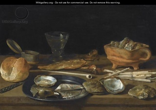 Still Life With A Brazier, A Wine-Glass, A Bread Roll, Smoking Paraphenalia, Two Herrings And A Pewter Plate - Pieter Claesz.