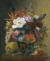 Exotic Blooms In A Grecian Krater With Fruit On A Marble Ledge - Johan Laurentz Jensen
