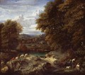 A Wooded River Landscape With A Shepherd Resting Near His Flock - Cornelis Huysmans
