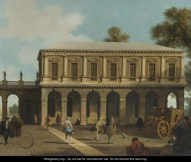 A Capriccio Of The Prisons Of San Marco Set In A Piazza With A Coach And Townsfolk - (Giovanni Antonio Canal) Canaletto