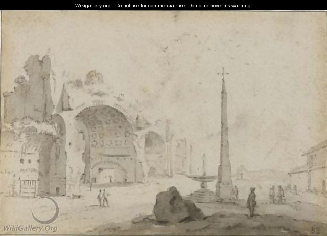 Fantasy View Of Rome, With The Basilica Of Constantine And The Obelisk Of Palazzo Del Popolo - Bartholomeus Breenbergh