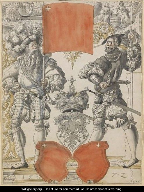 The Arms Of Canton Schwyz Between Two Militiamen, With Christ And The Woman Of Samaria Above - (after) Daniel Lindtmayer