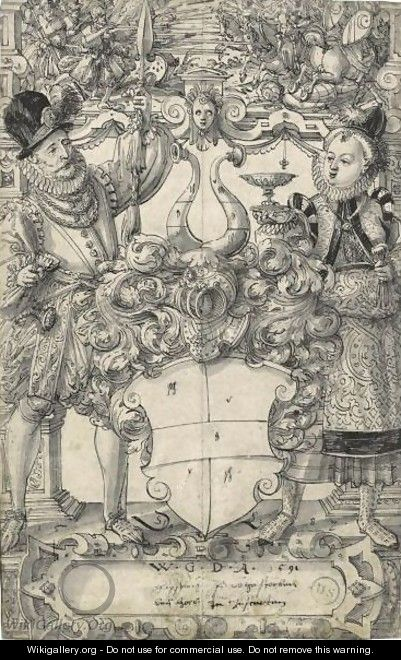 The Arms Of Habsberg Flanked By An Elegant Couple - Daniel Lindtmayer