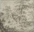 A Thatched Woodland Cottage With A Man And His Dog In The Foreground - Pieter Barbiers