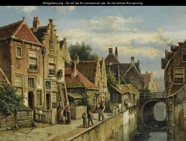 Figures On A Quay In A Sunlit Town, Possibly Haarlem - Willem Koekkoek