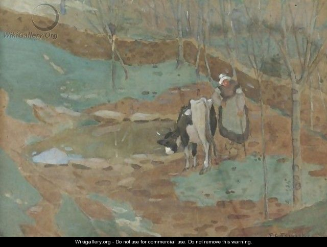 Woman And Cow In A Landscape - Frederick Carl Frieseke