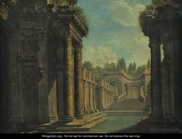 Architectural Capriccio With Roman Ruins - (after) Giovanni Paolo Panini