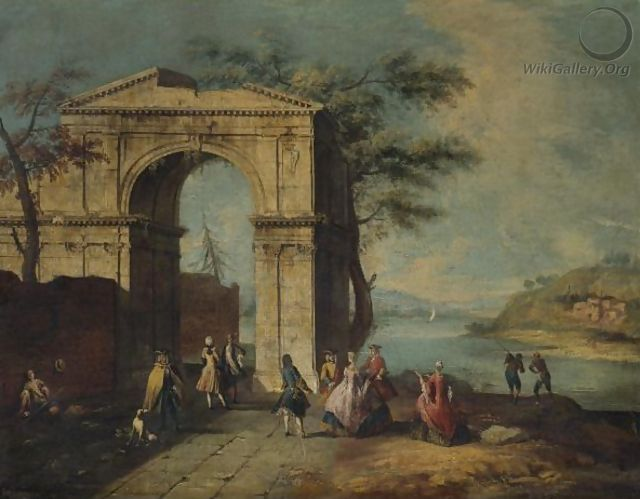 Elegant Figures Standing By A Classical Arch - (after) Francesco Albotto