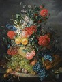 A Flower Still Life With Grapes - Amalie Kaercher