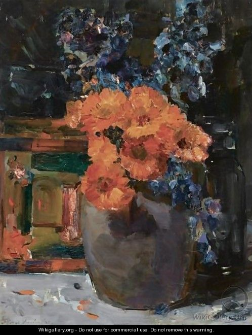 A Still Life With Marigold And Delphinium In A Bowl - Floris Verster