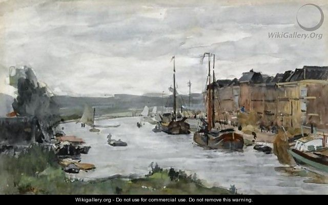 Moored Boats On A Canal, Scheveningen - Floris Arntzenius