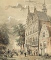 Many Figures In Front Of The Townhall, Naarden - Cornelis Springer