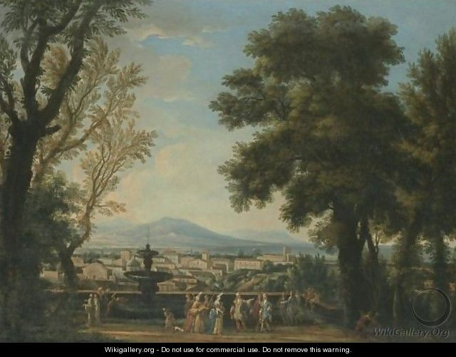 An Extensive Italianate Landscape With Elegant Figures On A Terrace Overlooking A Town - Isaac de Moucheron