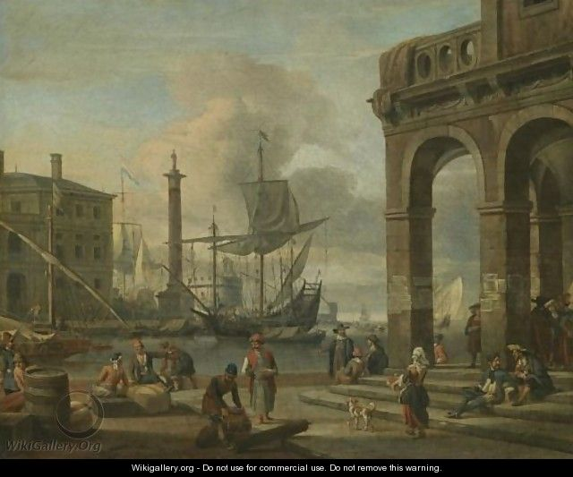 A Mediterranean Harbour Capriccio With Figures Unloading Cargo In The Foreground - Abraham Storck