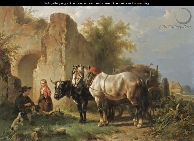 Hay-Time, Resting Figures Near An Ox And Horse - Wouterus Verschuur