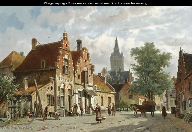 Figures In The Sunlit Streets Of A Dutch Town - Adrianus Eversen