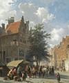 Market Scene In The Sunlit Streets Of A Dutch Town - Cornelis Springer