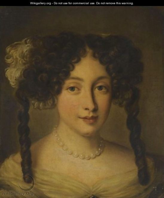 Portrait Of A Lady, Bust-Length, Wearing A Pearl Necklace - Jacob Ferdinand Voet