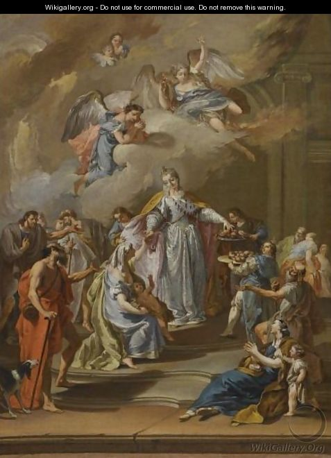 Saint Elizabeth Of Portugal Distributing Alms - (after) Francesco Pittoni