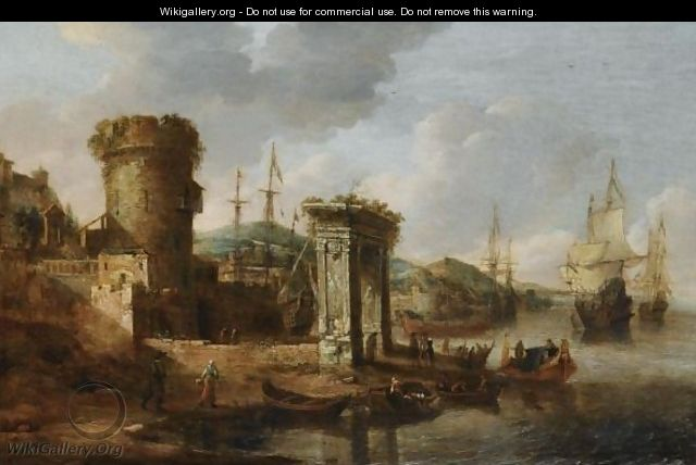 A Capriccio Of A Mediterranean Harbour With Elegant Figures Embarking A Boat, A Roman Triumphal Arch, And Dutch Men-Of-War Beyond - Jan Abrahamsz. Beerstraten