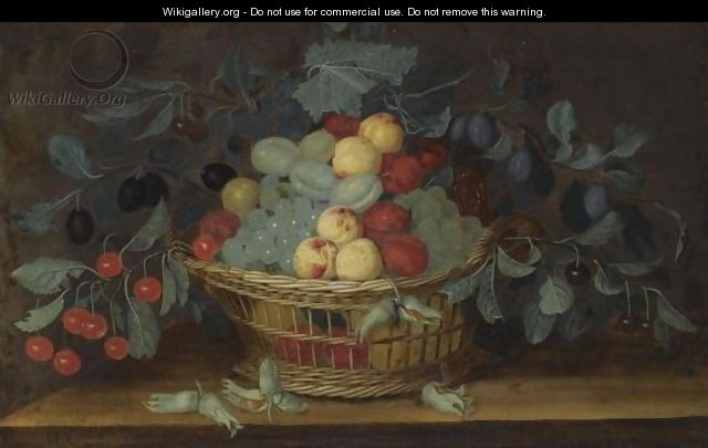Still Life Of White Grapes, Apricots, Cherries And Plums In A Basket, Together With A Bunch Of Hazelnuts On A Ledge - H. V. Oorschot