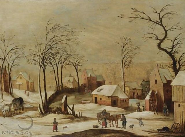 A Village Scene In Winter With Peasants Unloading A Cart In The Foreground, And A Horse And Carriage On A Path To The Left - (after) Joos De Momper