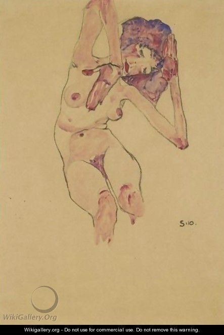 Sitzender Frauenakt Mit Geneigtem Kopf Und Erhobenen Armen (Seated Female Nude With Tilted Head And Raised Arms) 2 - Egon Schiele