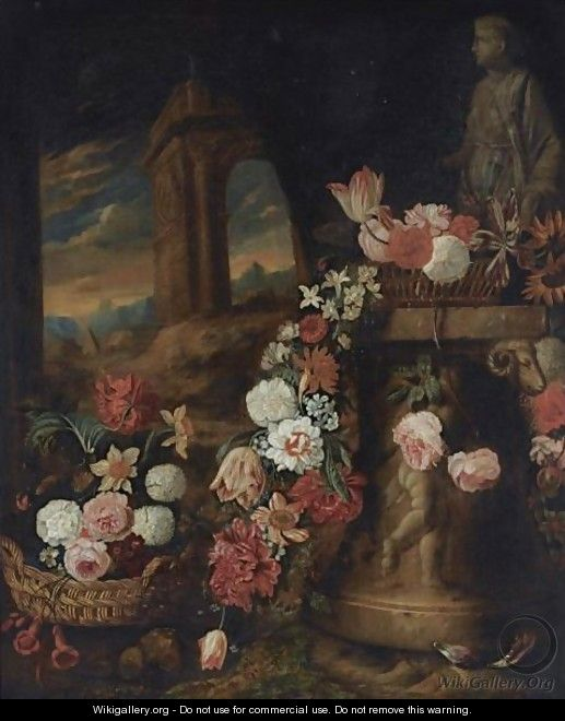 A Still Life Of Roses, Daffodils, Parrot Tulips, Snowballs And Other Flowers In Baskets - Charles Stoppelaer
