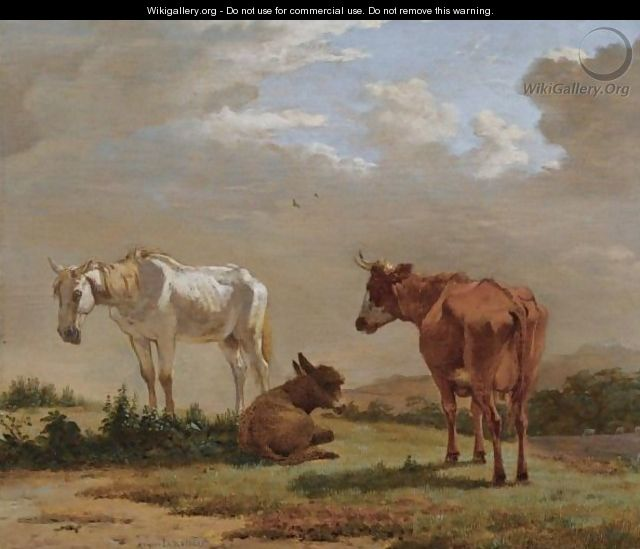 A White Horse, A Cow And A Donkey In A Landscape - Karel Dujardin