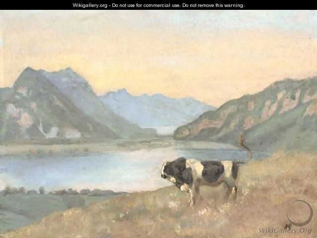 Lake Thun And Brienz With Freiburg Simmental Bull - Ferdinand Hodler