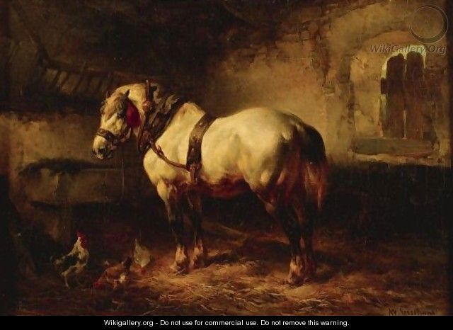 A Horse And Chickens In A Stable - Wouterus Verschuur