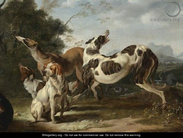 Dogs Getting Ready For The Hunt - Carl Borromaus Andreas Ruthart